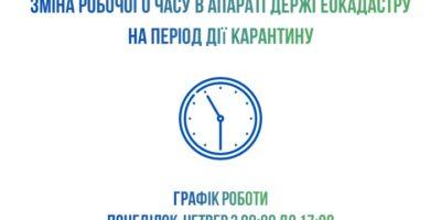 Зміна робочого часу в апараті Держгеокадастру на період дії карантину
