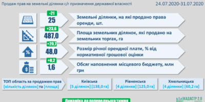Результати земельних аукціонів за період з 24 по 31 липня 2020 року